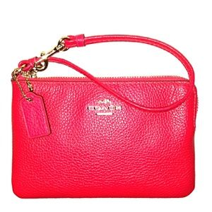 New Beautiful Pink COACH Pebbled Leather Wristlet